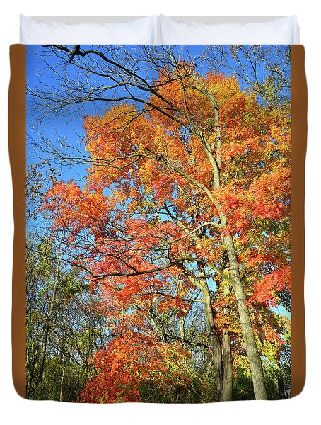 Duvet Cover featuring the photograph River Road Maples by Ray Mathis
