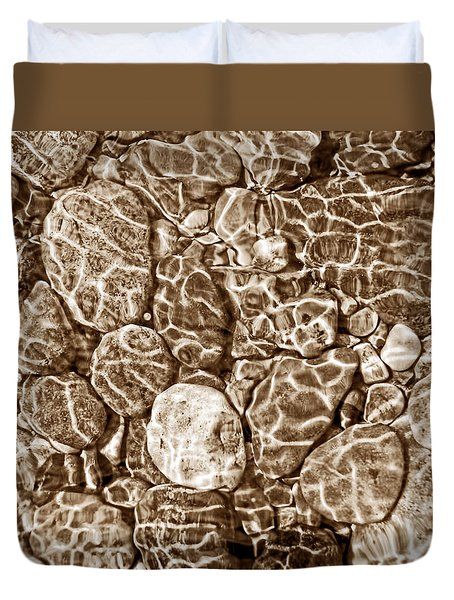 River Rocks In Stream Bed Sepia Duvet Cover