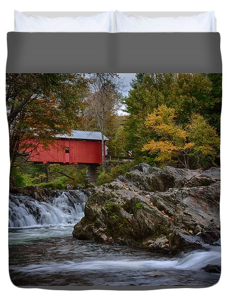 Duvet Cover featuring the photograph River Runs Under The Slaughthouse Covered Bridge by Jeff Folger