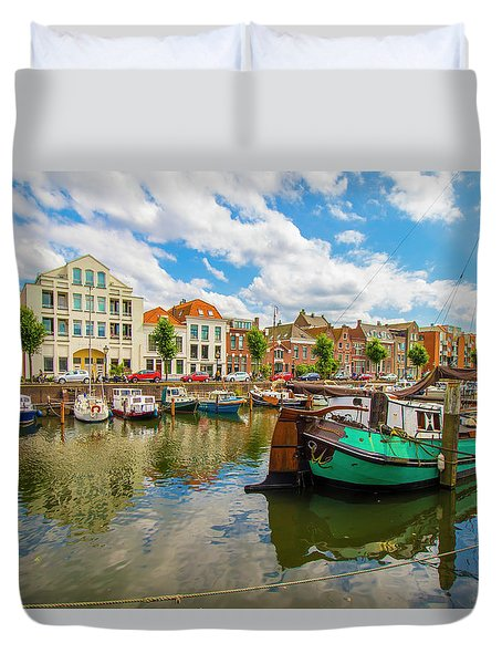 River Scene In Rotterdam Duvet Cover