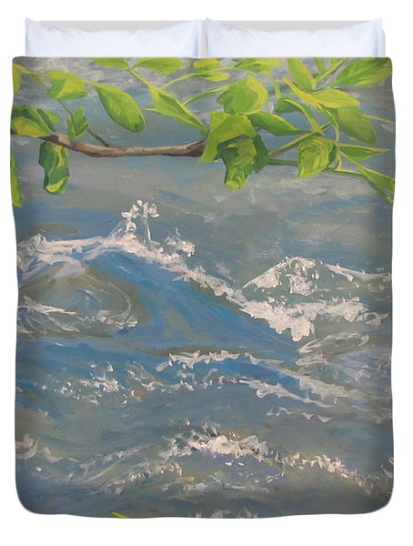 Duvet Cover featuring the painting River Spring by Karen Ilari