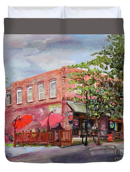 Duvet Cover featuring the painting River Street Tavern-ellijay, Ga - Cheers by Jan Dappen