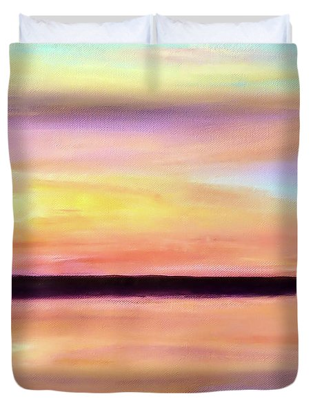 Duvet Cover featuring the painting River Sunset by Valerie Anne Kelly