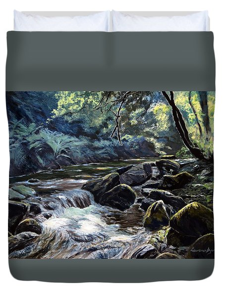 Duvet Cover featuring the painting River Taw Sticklepath by Lawrence Dyer