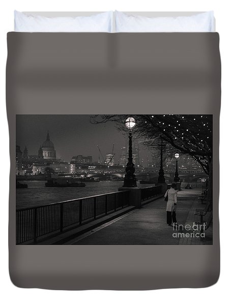 River Thames Embankment, London Duvet Cover