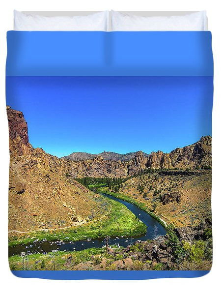 Duvet Cover featuring the photograph River Through Mountains by Jonny D