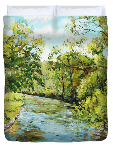 River Through The Forest Duvet Cover