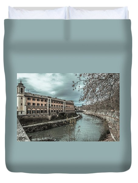 Duvet Cover featuring the photograph River Tiber by Sergey Simanovsky