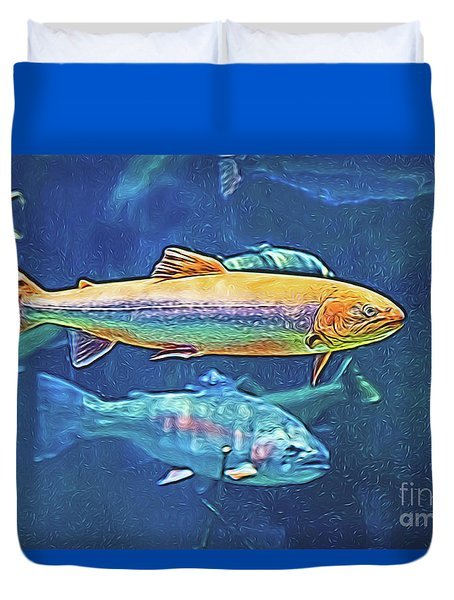 Duvet Cover featuring the digital art River Trout by Ray Shiu