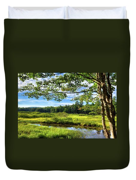Duvet Cover featuring the photograph River Under The Maple Tree by David Patterson