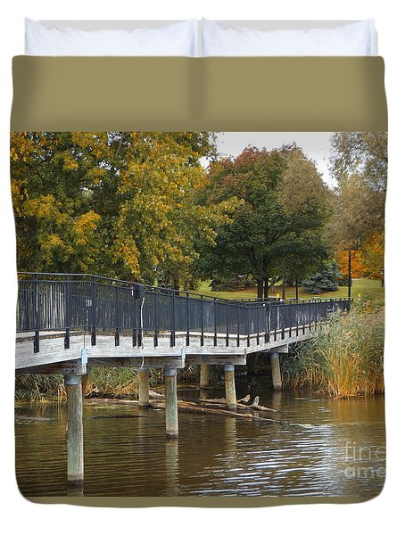 River Walk In The Fall Duvet Cover