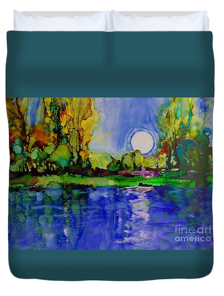 Duvet Cover featuring the painting River Walk by Priti Lathia