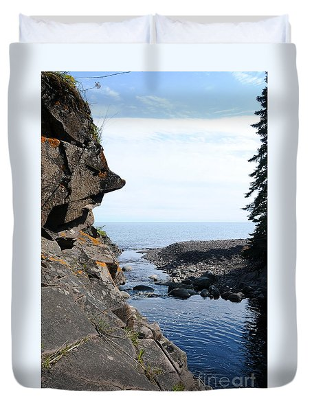 Duvet Cover featuring the photograph River Watcher by Sandra Updyke