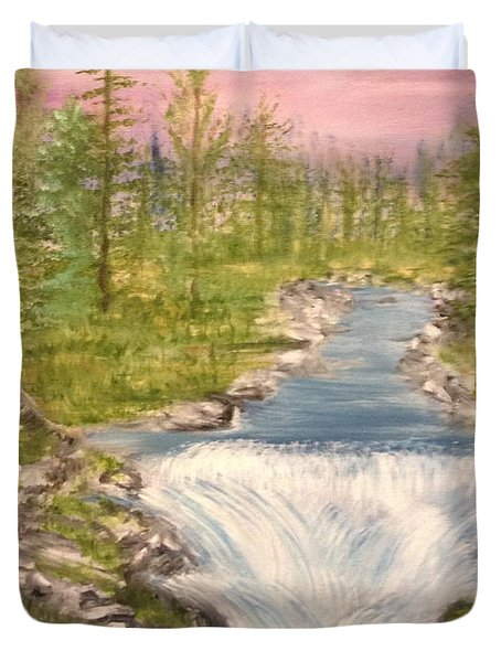 River With Falls Duvet Cover