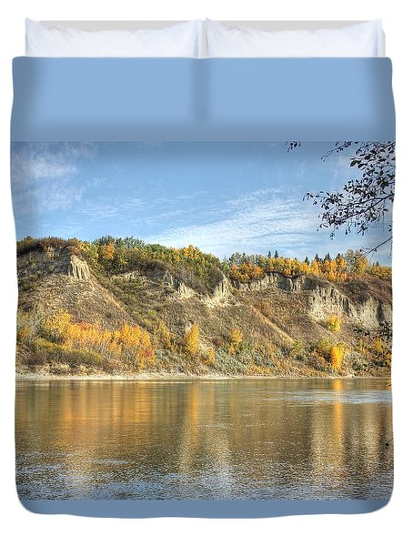 Riverbank In Autumn Duvet Cover