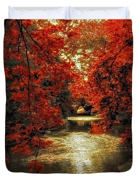 Riverbank Red Duvet Cover