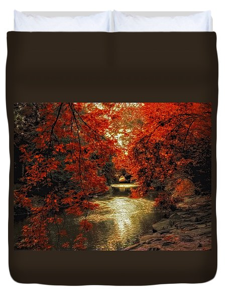 Riverbank Red Duvet Cover