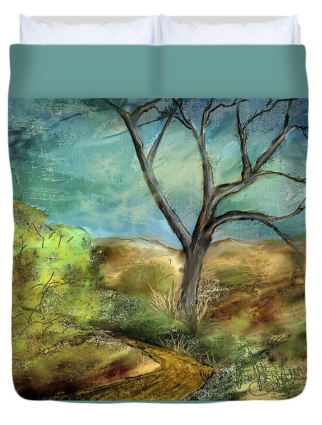 Duvet Cover featuring the painting Riverbed  by Annette Berglund