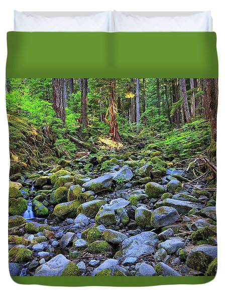 Riverbed Full Of Mossy Stones With Small Cascade Duvet Cover
