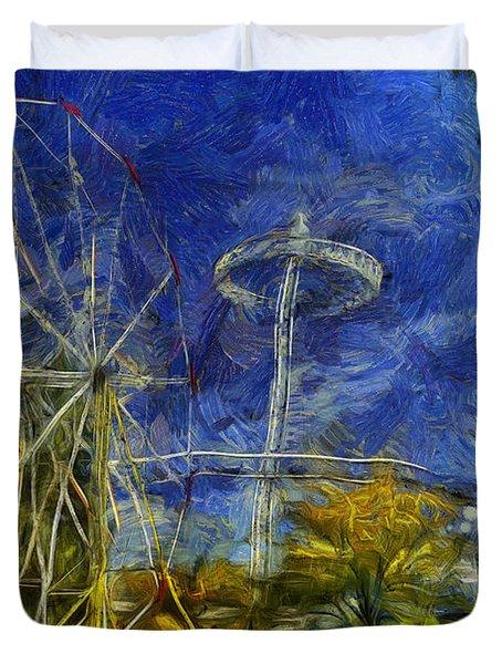 Riverfront Park - Pavilion And Ferris Wheel Duvet Cover