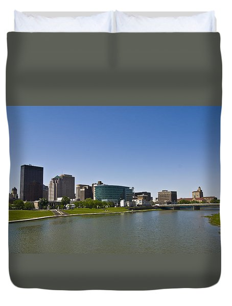 Riverscape - Dayton Skyline Duvet Cover by Kristen Coll