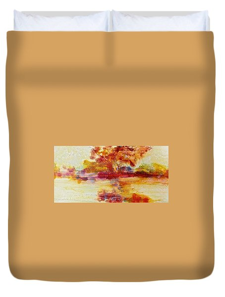 Riverscape In Red Duvet Cover by Carolyn Rosenberger