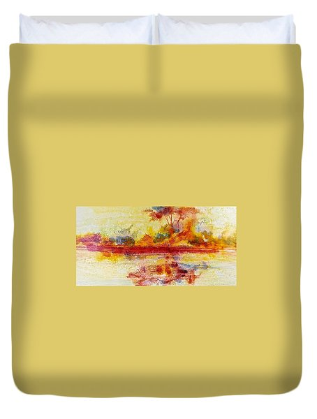 Riverscape In Red....part 2 Duvet Cover by Carolyn Rosenberger