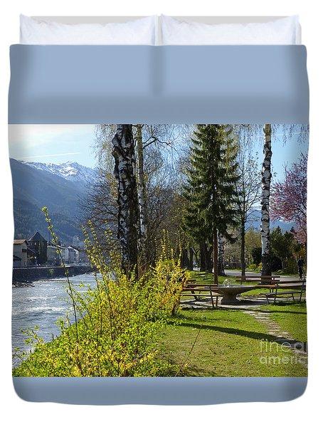 Riverside At Lienz  Duvet Cover