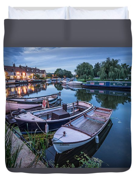 Duvet Cover featuring the photograph Riverside By Night by James Billings