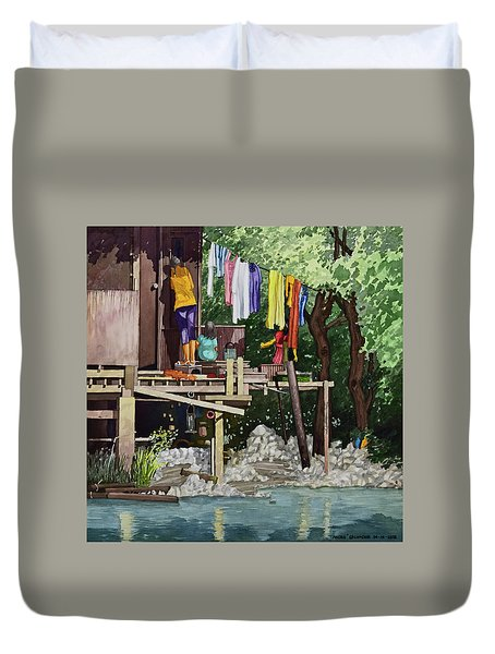 Riverside House And It's Laundry Duvet Cover