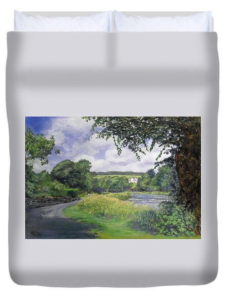 Riverside House And The Cauld Duvet Cover by Richard James Digance