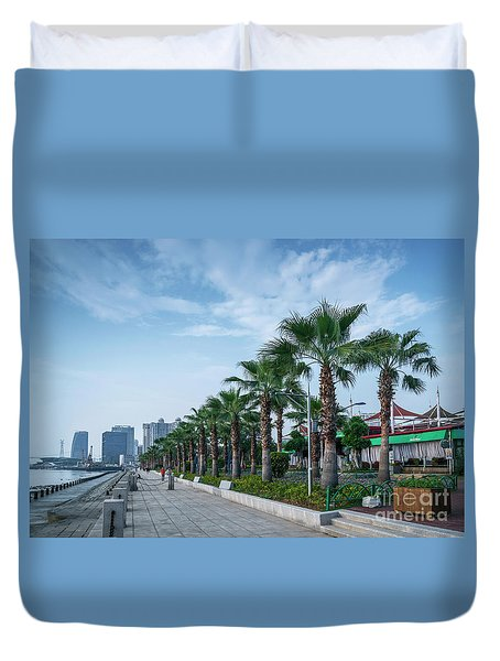 Riverside Promenade Park And Skyscrapers In Downtown Xiamen City Duvet Cover