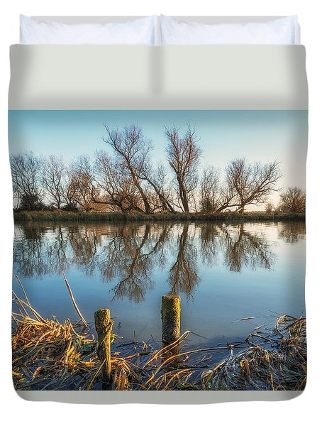 Duvet Cover featuring the photograph Riverside Trees by James Billings