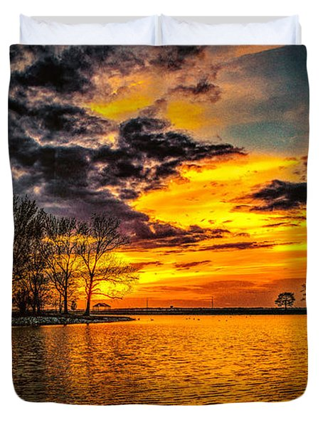 Duvet Cover featuring the photograph Riverview Beach Park Sunset by Nick Zelinsky
