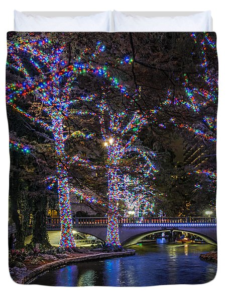 Duvet Cover featuring the photograph Riverwalk Christmas by Steven Sparks