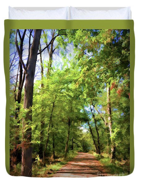 Duvet Cover featuring the photograph Riverway Trail - Bisset Park - Radford Virginia by Kerri Farley