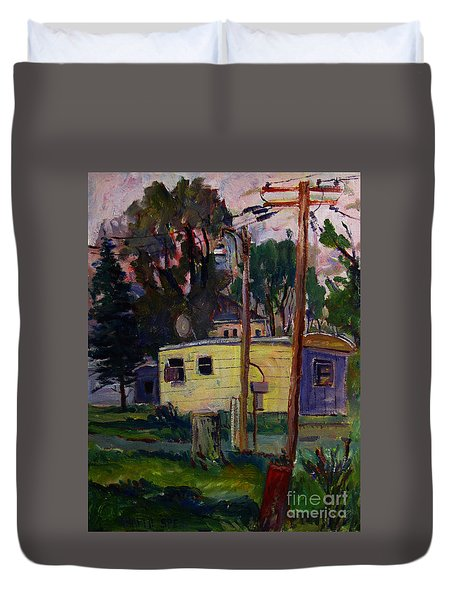 Duvet Cover featuring the painting Riviera Trailer Court by Charlie Spear