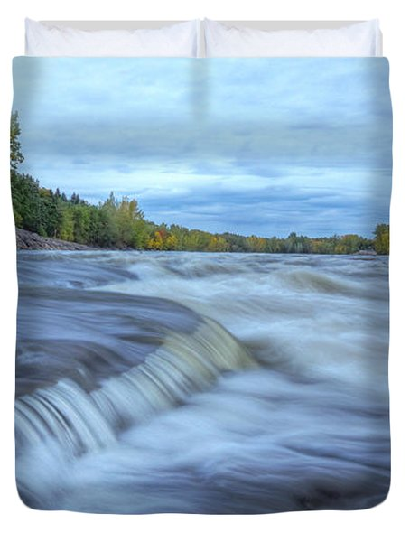 Riviere Des Prairies Panorama Duvet Cover by Mircea Costina Photography