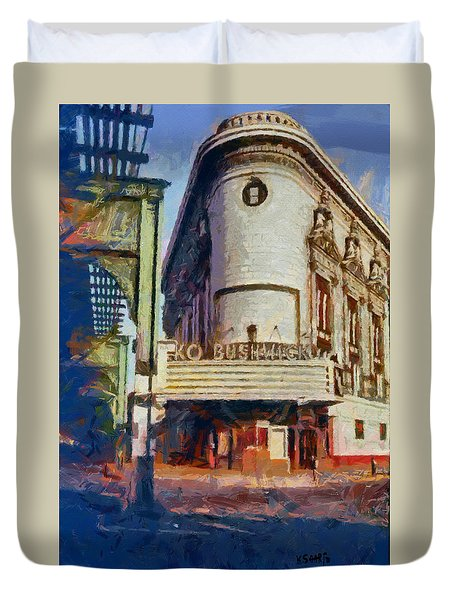Duvet Cover featuring the digital art Rko Bushwick Theater 1974 by Kai Saarto