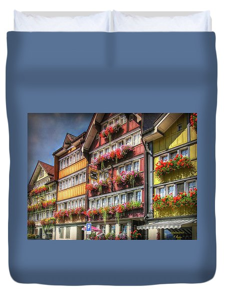 Duvet Cover featuring the photograph Row Of Swiss Houses by Hanny Heim