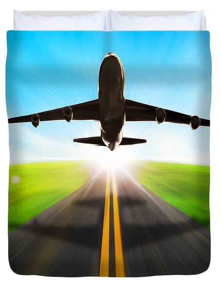 Road And Plane Duvet Cover by Setsiri Silapasuwanchai
