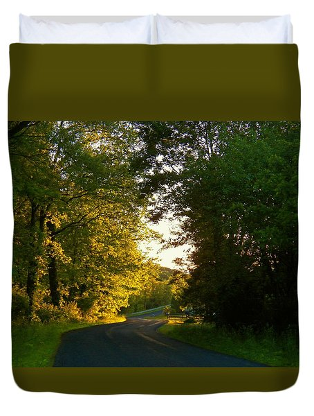 Road At Sunset Duvet Cover