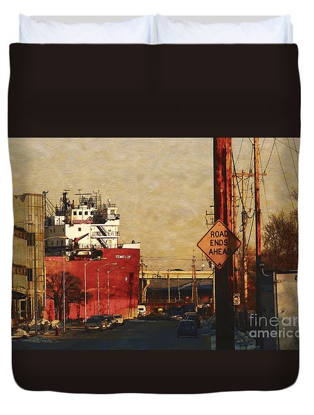 Road Ends Ahead Duvet Cover by David Blank
