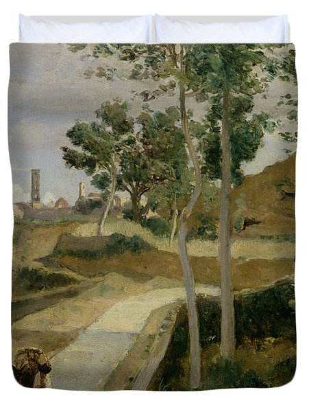 Road From Volterra Duvet Cover by Jean Baptiste Camille Corot