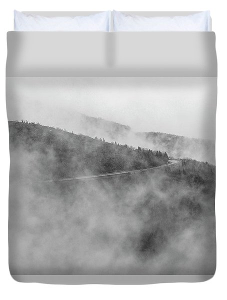 Road In Fog - Blue Ridge Parkway Duvet Cover
