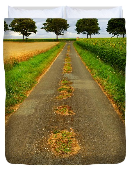 Road In Rural France Duvet Cover by Elena Elisseeva