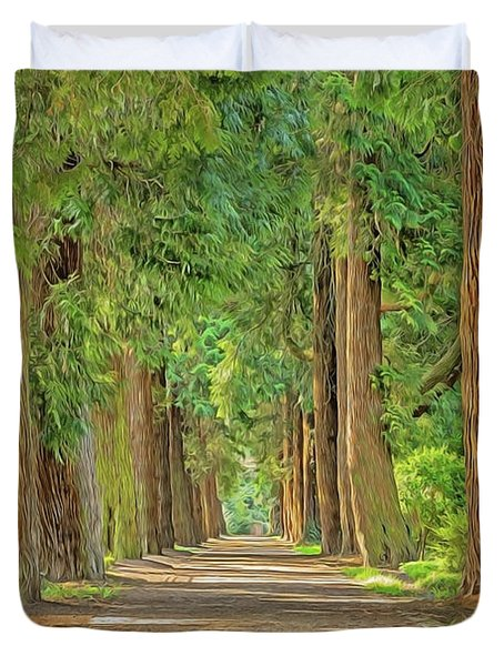 Duvet Cover featuring the painting Road Less Traveled by Harry Warrick