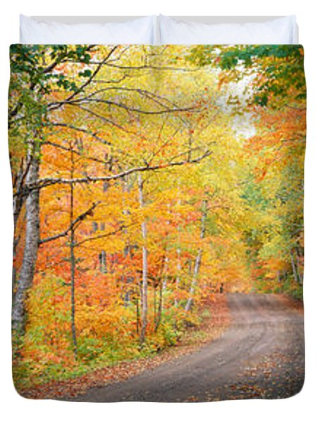 Road Passing Through A Forest, Keweenaw Duvet Cover