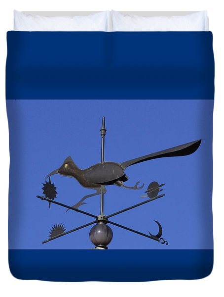 Duvet Cover featuring the photograph Road Runner Weather Vane by Joan Hartenstein