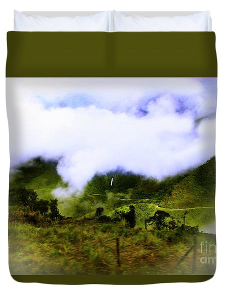 Duvet Cover featuring the photograph Road Through The Andes by Al Bourassa